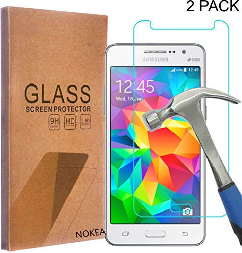 [2 Pack] Samsung Galaxy Grand Prime Screen Protector, NOKEA [Tempered Glass] with [9H Hardness] [Crystal Clear] [Easy Bubble-Free Installation] [Scratch Resist] (for Galaxy Grand Prime)