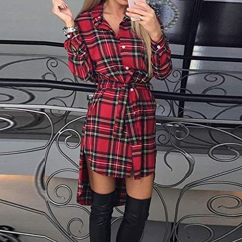 Manica Baggy Cintura Irregular Giovane Camicia Blusa Lunga Accogliente Reticolo Breasted Vestiti Camicetta Moda Rot Eleganti Donna Bavero Casual Inclusa Autunno Women Lunga Single Moda wqZO8