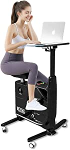 Fit Right 8 Level Magnetic Resistance Exercise Bike Desk, Home and Office Workstation, Standing Stationary Bike with Adjustable Seat and Desk, 285 LB Max