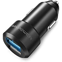 RAVPower Chargeur Voiture Extra Mini Allume Cigare 2 Ports USB 24W / 5V 4,8A iSmart en Alliage d'Aluminium pour iPhone XS/XS Max/XR / 8 / X / 7 / 6s / 6 / Plus, Galaxy S7 / S6 / Edge/Plus etc. – Noir