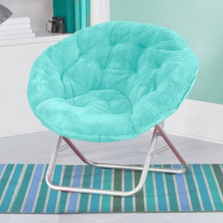 Mainstays Faux-Fur Saucer Chair, Soft, wide seat Foldable steel frame Aqua Wind by Mainstay