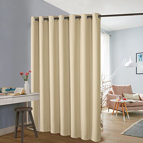 Blind Room Divider - PONY DANCE Patio Door Curtains - Vertical Blind Thermal Insulated Room Divider Screen Partition Extra Wide Drapes for Sliding Windows & Office & School, Wide 100 x Long 84 in, Beige, 1 Piece