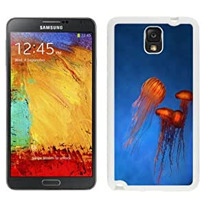 NEW Unique Custom Designed Samsung Galaxy Note 3 N900A N900V N900P N900T Phone Case With Orange Jellyfish Rising Blue Ocean_White Phone Case