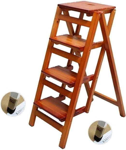 Las escaleras de madera Ejecución de las heces estantería escala taburete retráctil de madera maciza plegable estantes de escalera for el hogar interior de madera Escalera subida de escaleras multifun: Amazon.es: Hogar