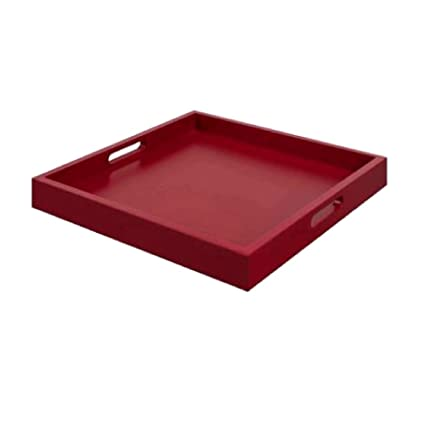 Tremendous Amazon Com Ghy Square Ottoman Tray Red Wood Flat Handles Gamerscity Chair Design For Home Gamerscityorg