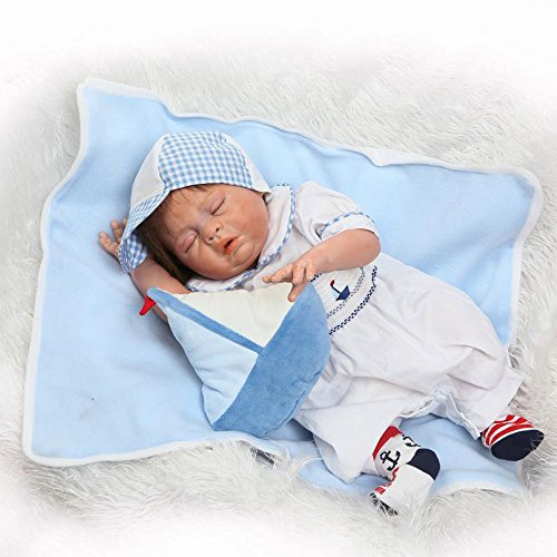 Pursue Baby Washable Full Body Hard Vinyl Lifelike Reborn Baby Boy Doll Sleeping Captain, 20 Inch Fully Poseable Realistic Newborn Baby Doll with Pacifier