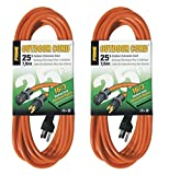 Prime Wire & Cable EC501625 25-Foot 16/3 SJTW Medium Duty Extension Cord, Orange, 2 Pack