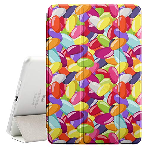 Compatible with Apple iPad Pro 9.7 Inch (2016) - Leather Smart Cover + Hard Back Case with Sleep/Wake Function (Jelly Beans Various) - Jelly Bean Case