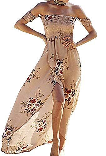 Summer Beach Maxi Dresses for Women Off The Shoulder Floral Boho Sundresses Khaki M