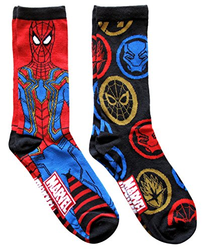 Marvel Iron Spider Spiderman Avengers Infinity War Mens Crew Socks 2 Pair Pack