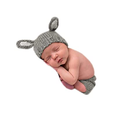 Infant Newborn Monthly Baby Boys Girls Knit Photography Props Hat with Pants Outfits Set (Light Gray): Clothing