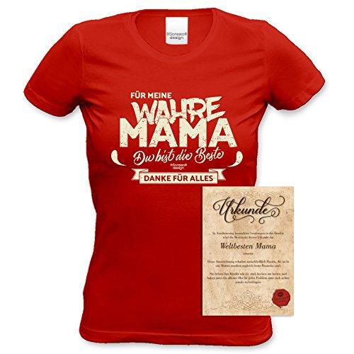Muttertag Geburtstag Geschenk / Damen Girlie Fun T-Shirt in Größen bis XXL und Print Aufdruck Für meine wahre Mama Farbe: rot Gr: S