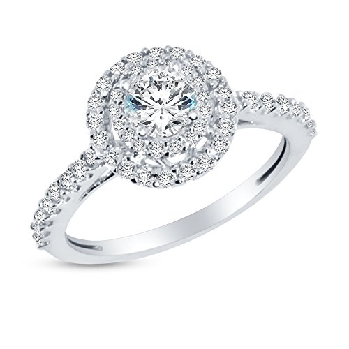 Size - 7 - Solid 14k White Gold Round Cut Double Halo Solitaire Engagement Ring CZ Cubic Zirconia (1.50cttw., .50ct. Center) ()