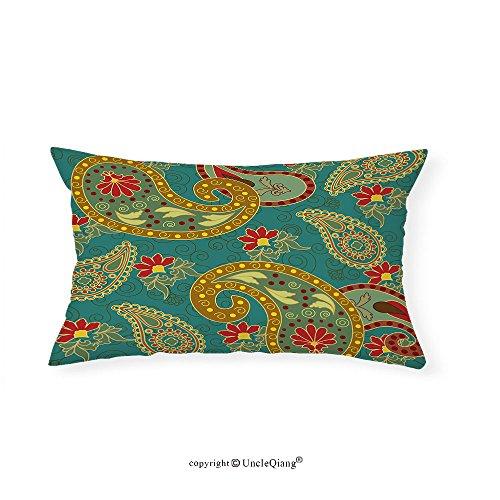 VROSELV Custom pillowcasesEthnic Indian Paisley Leaves Folk Stylized Boho Zen Oriental Asian Art Design for Bedroom Living Room Dorm Ruby Light Coffee Teal(20''x30'') by VROSELV