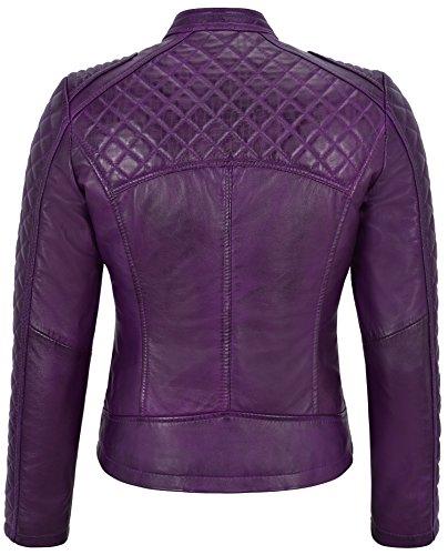 Chaqueta Diamante De Smart Forma Biker Con Púrpura Cuero Mujer Real Range Estilo Color 5wq1p4H