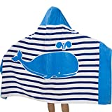 SearchI 100% Cotton 400 GSM Hooded Poncho Towel for Kids Dolphin Cute Cartoon Beach Pool Bath Towel for Boys