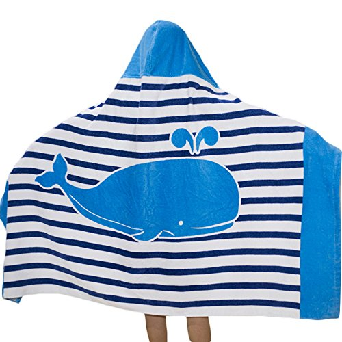 SearchI Hooded Bath Towel for Kids Boys Girls 2 to 8 Years Old, Fast Drying Beach Towel for Swim Pool Ultra Absorbent 100% Cotton Poncho Bath Towel Dolphin, 50x30 Inches ()