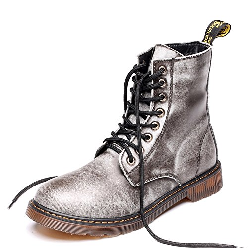 Sunny&Baby Men's Shoes Classic Leather Lace UP Oxfords High Top Boots For Gentlemen Abrasion Resistant (Color : Gray, Size : 5.5MUS Big Kid)