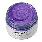 MOFAJANG Unisex Multi-Color Hair Wax Color Dye Styling Cream Mud, Washable Temporary, Natural Matte Hairstyle Modeling DIY for Party Cosplay, Purple