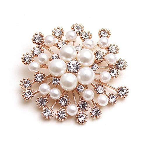 Weiy Glittering Pearl Crystal Snowflake Flower Design Brooch Pin Badge Fashionable Charming Dress Scarves Shawl Clip Clothes Bags Decoration Jewelry Gift for Women Girls