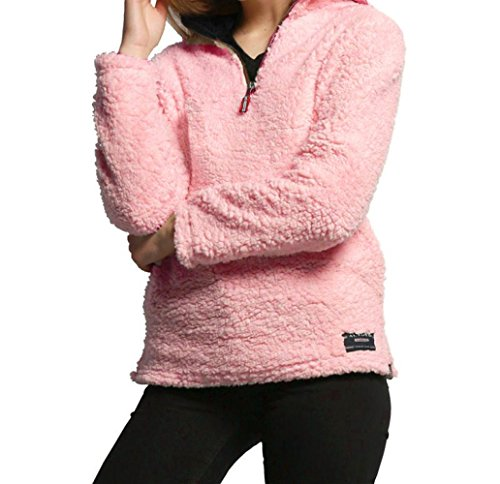3/4 Zip Fleece Pullover - New!! Women Plus Size Fleece Pullover,Lelili Winter Warm 1/4 Zip Fleece Sweatshirt Jacket Outwear Tops (Pink, 3XL)