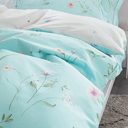 OTOB Floral Bedding Duvet Cover Queen Set for Teen Kids Girl Flower Print Bedding Sets Full Size Cotton 100 Blue, Reversible Lightweight Soft by OTOB (Image #8)