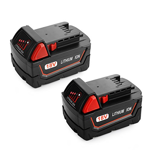 Milwaukee Power Tool Battery - Energup 2pack 18V 6.0Ah Replacement Battery for Milwaukee M18 Cordless Power Tool 48-11-1850 48-11-1852 48-11-1840 48-11-1828 Milwaukee M18 Battery