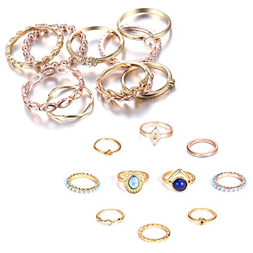 (RINHOO FRIENDSHIP 10PCS Bohemian Retro Vintage Crystal Joint Knuckle Ring Sets Finger Rings (Gold+ Turquoise))