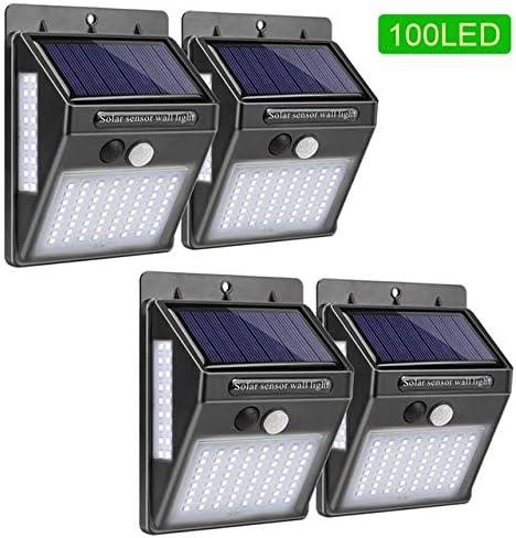 Goodland - Lámpara solar de jardín con 100 luces LED para exteriores con sensor de movimiento PIR y luz solar impermeable para decoración de la Federación Rusa, 4 unidades: Amazon.es: Iluminación
