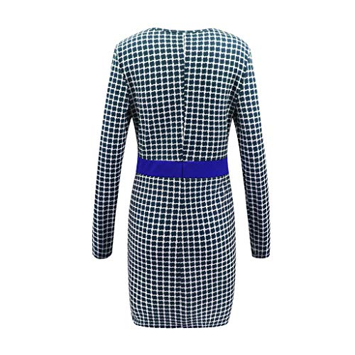 Business Square 2019 2xl V M S con longuette a scollo Abito lunga colori Popular 3 manica Fitted blu BzBPZf1