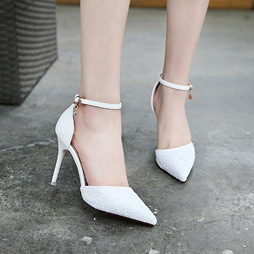 Gtvernh-les Chaussures Paillettes Pop Up Banquet De Vêtements Pointus Chaussures Un Mot Boucle Talon Haut Talon 10cm Chaussures Marié Les Chaussures Trente Blanc