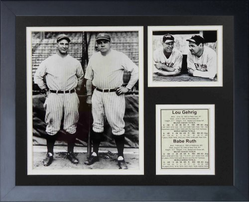 Legends Never Die New York Yankees Lou Gehrig and Babe Ruth Framed Photo Collage, Bats, 11x14-Inch