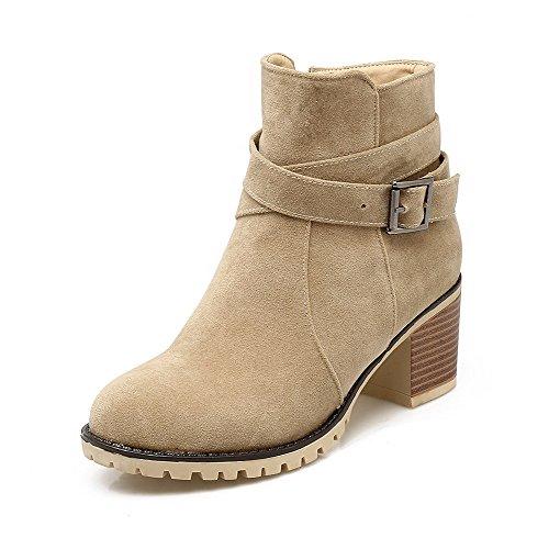 AllhqFashion Damen Rein Blend-Materialien Rund Zehe Reißverschluss Stiefel, Cremefarben, 35