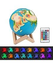 Laelr Led-maanlamp, 5,9 inch, maanlicht met afstandsbediening, gekleurde decoratieve lamp, 3D maan, kunst, RGB, draagbaar nachtlampje met touch control, tafellamp, ingebouwde batterij, dimbaar, 16 lichtkleuren wisselen, ABS PVC materiaal