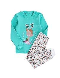 My Sky Kids Sleepwear 2-Piece Animal Print Cartoon Cotton Pajama Outfits Set