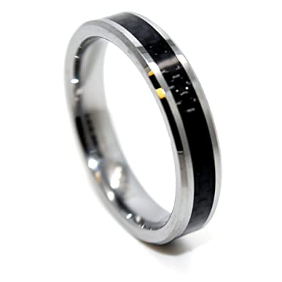 ultra thin 5mm tungsten carbide black carbon fiber wedding band size 4 16 - Carbon Fiber Wedding Rings