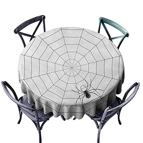 ScottDecor Modern Round Tablecloth Dinning Tabletop Decoration Spider Web,Toxic Poisonous Insect Thread Crawly Malicious Bug Halloween Character Design, Black White Diameter 54