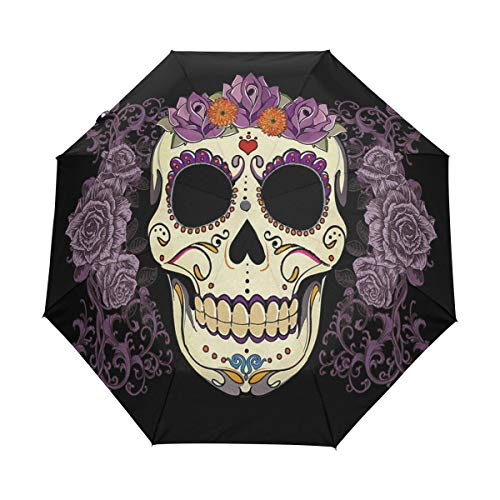 OuLian Umbrella Vintage Sugar Skull Golf Travel Sun Rain Windproof Auto Umbrellas with UV Protection for Girls Boys Kids