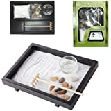 Ebros Desk Wu Xin Void Serenity Meditation Zen Garden Kit With Accessories Set Rocks And Sand Garden With Rake And Tea Light Candle Holder