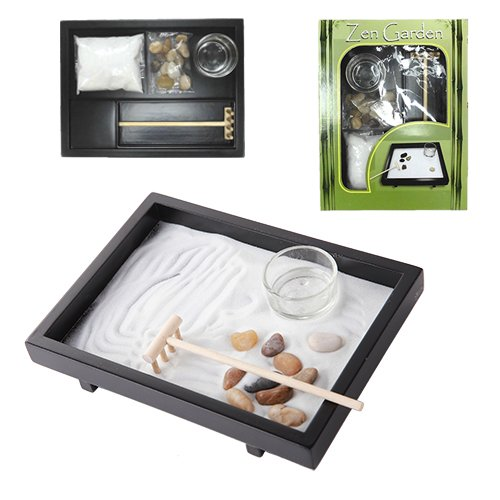 Tabletop Wu Xin Void Serenity Meditation Zen Garden Set Rocks And Sand Garden With Rake And Tea Light Candle Holder