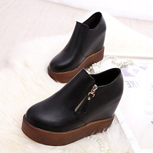 Bajos Bizcocho Zapatos Zapatos Aumento Grueso Mujer Con Lado Zapato Mujer De En Zapato Zapatos Zip La Solo De Negro Y Un Del Otoño GAOLIM Primavera wqI7xEtz1