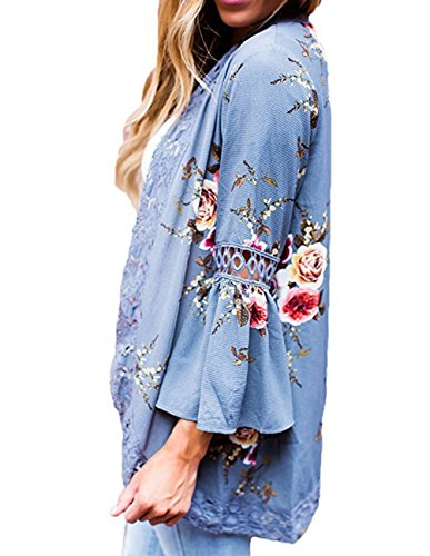 Sleeve Cotton Ruffle Sleeve Floral Kimono Cardigan Blue Cover Ups M (Cotton Ruffle Cardigan)