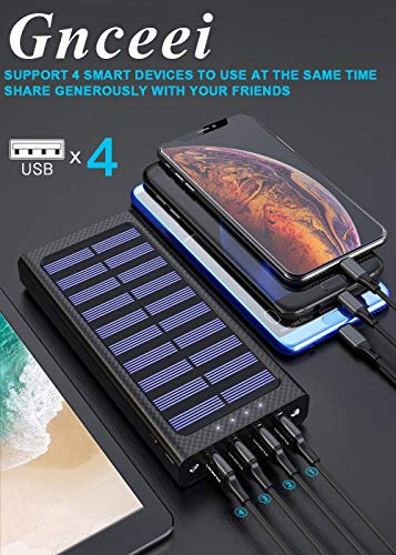 Gnceei Batería Externa 24000mAh 5.8A 4 Salidas Cargador Móvil Portátil Power Bank con 3 Entrada y 2 LED Ligero para...