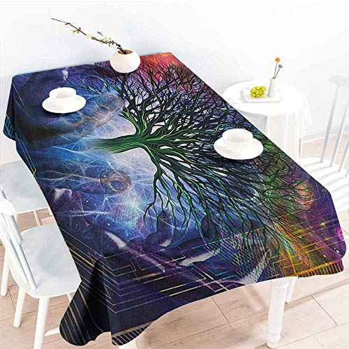 (Willsd Elastic Tablecloth Rectangular,Nature Human Hand Grabs a Leafless Tree Vitality Symbol Modern Hippie Karma Artisan Theme,Table Cover for Kitchen Dinning Tabletop Decoratio,W52x70L Blue)