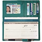 Aqua RFID Leather Checkbook Cover with Credit Card Slots and Pen Holder
