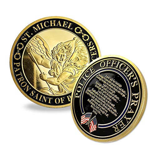 Indeep Police Officer Prayer Coin St. Michael Patron Saint Law Enforcement Military Challenge ()