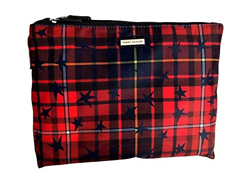 Tommy Hilfiger Travel Cosmetic Bag Fold Up Style Red/Navy Plaid