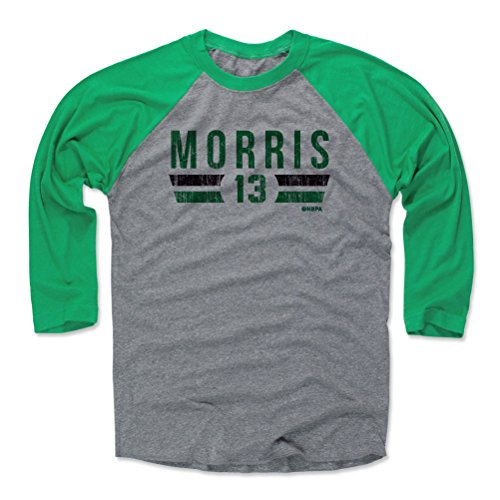500 LEVEL Marcus Morris Baseball Tee Shirt Medium Green/Heather Gray - Boston Basketball Raglan Shirt - Marcus Morris Boston Font G