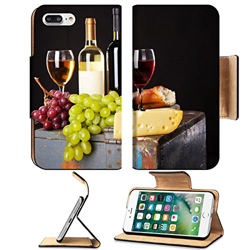 Liili Premium Apple iPhone 7 Plus Flip Pu Leather Wallet Case iPhone 7 Plus 19315593 Wine grapes and cheese on black background