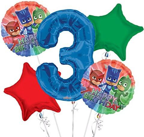 PJ Masks Balloon Bouquet 3rd Birthday 5 pcs - Party Supplies
